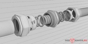 Фитинг обжимной 3d-визуализация