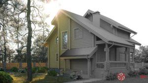 Дом из бревна 3d-визуализация