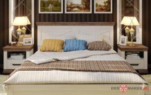 Вид на кровать интерьер спальни