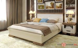 Визуализация кровати в интерьере - вид от входа в спальню