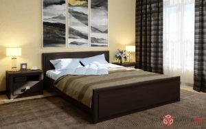 Кровать цвет венге в интерьере спальни